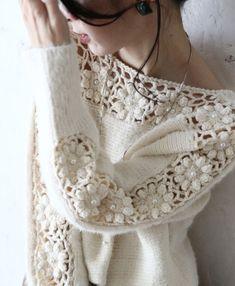 Cardigans Crochet, Crochet Shirt, Crochet Clothes, Crochet Lace, Free Crochet, Sweater Knitting Patterns, Hand Knitting, Mein Style, Handarbeit