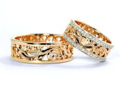 14k Gold wedding bands. Gold wedding by JewelryEscorial on Etsy