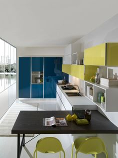 Blue / green / white modern kitchen