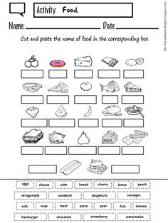 Cut and paste the name of food in the corresponding box Cut the food and paste it in the correct animal Match the item with its name . Cut And Paste Worksheets, 1st Grade Worksheets, Vocabulary Worksheets, Worksheets For Kids, English Vocabulary, English Lessons For Kids, Kids English, English Tips, English Food