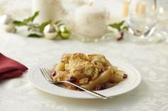 Pear and cranberry cobbler for an easy and delicious holiday #dessert!