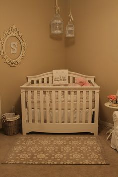 pink and cream nurseryinitial in frame, bird cages, but not over their cribs