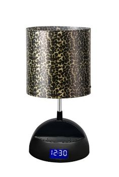 LighTunes LS1000-LPD-BT Bluetooth Speaker Lamp with Alarm Clock, FM Radio, and USB Charging Port, Leopard Shade >>> Check out the image by visiting the link.
