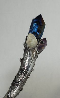 Titanium Crystal Quartz Apophyllite Amethyst Deer antler magic wand ceremonial alter wiccan tools on Etsy, $194.52 CAD
