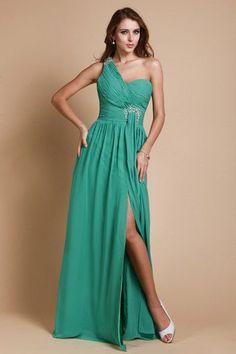 Modern Chiffon One Shoulder Split Empire A-line Long Prom/Evening Dress - ULOVEE