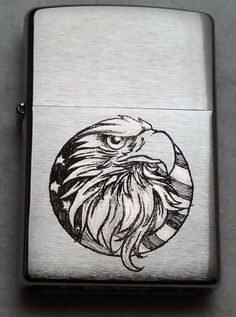 NEW! Patriotic Eagle Zippo 200 Brush Chrome Lighter Engraved by Luis A Ortiz