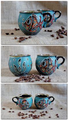 #ceramic mug #fish mug #handpainted mug