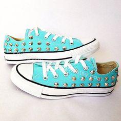 Studded Tiffany Blue Converse #studdedconverse #tiffanyblueconverse