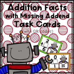 Looking for a fun and interactive way for students to practice their addition facts?  On each task card, students are asked to provide the missing addend to an addition fact.  Each task card also includes a QR code, making self-correcting fun and easy.