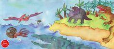 #Illustrations #dinosaurs #BarbaraJelenkovich, Allegra Panini, Conchiglie nei marciapiedi, Arnoldo Mondadori Editore, Milano, 2001 e Korea Shakespeare, Seoul, 2008 per l'edizione in lingua coreana