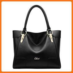 Cluci Women's Leather Handbags Shoulder Tote Top-handle Bag on Clearance Black - Shoulder bags (*Amazon Partner-Link)
