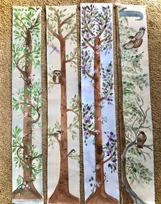 Children's Grow Charts, Hand Painted on Fabric Banners, Custom Orders Welcome