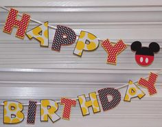 Mickey Mouse Happy Birthday Letter Banner ... Red Yellow Black ... polka dots and stripes ...  adjustable on Etsy, $18.50