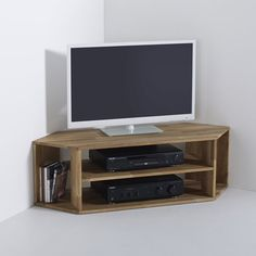 Image EDGAR Solid Oak Corner TV Unit La Redoute Interieurs