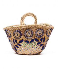 Small Blue Floral Basket