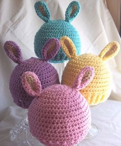 crochet pink spring hats | ... Choice of 4 Colors- Aqua, Pink, Lavender or Yellow Crochet Bunny Hat