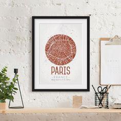 Retro Paris Street Map Framed Print East Urban Home Size: 55 cm H x 40 cm W, Frame options: Matt grey Framed Maps, Framed Prints, Paris City, Paris Street, Vintage Picture Frames, Cornice, Vintage Prints, Graphic Art, Poster