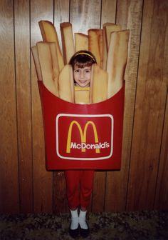 My Halloween costumes were often handmade by my mom.  Most memorable would have to be McDonald's french fries from cushion foam, shoe polish, and posterboard.  My mom is: CREATIVE