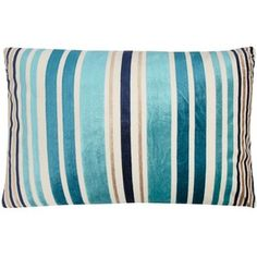 Home Collection Blue large cut pile striped cushion