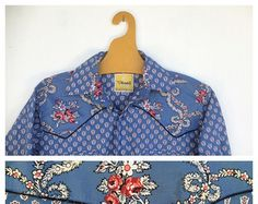 Superb M L Provencal Cowboy Cowgirl Blue and Floral Shirt