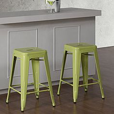 @Overstock - These incredible steel-made Tabouret stools feature a brilliant limeade color to accent your kitchen decor. These stools feature non-mar foot glides and have a scratch resistant powder coat finish.   http://www.overstock.com/Home-Garden/Tabouret-24-inch-Limeade-Metal-Counter-Stools-Set-of-2/6459285/product.html?CID=214117 $79.99