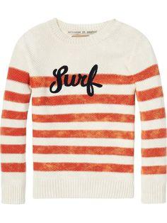 Scotch & Soda - Amsterdam Couture - Habillement, mode et bien plus encore Boys Sweaters, Men Sweater, Scotch Shrunk, Scotch Soda, Online Purchase, Surfing, Pullover, Little Girl Clothing, Stripes