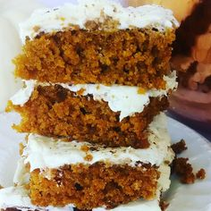Heavenly pumpkin cake with cream cheese frosting.