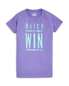"Under Armour Girls' Watch Me Win Tee - Sizes Xs-xl  | Cotton/polyester/elastane | Machine wash | Imported | Fits true to size | Crewneck, short raglan sleeves | ""Watch me win"" graphic at front 