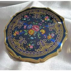 Vintage Stratton Compact Cobalt Blue /Gold Trim edit by TheEclecticDiva on Etsy - Photo