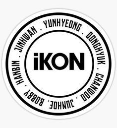 Ikon Kpop stickers featuring millions of original designs created by independent artists. Logo Sticker, Sticker Design, Decal, Bobby, Kpop Logos, Ikon Kpop, Ikon Wallpaper, Ikon Debut, Out Of The Dark