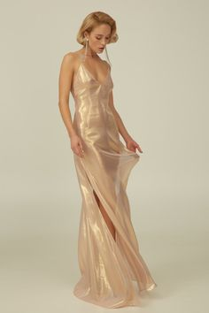 """Rose Gold Silk Boudoir Dress with Open Back """"Kelly"""" The Effective Pictures We Offer You About white silk dress A quality picture can tell you many things. You can find the most beautiful pictures that can be presented to you… Continue Reading → Elegant Dresses, Pretty Dresses, Beautiful Dresses, Runway Fashion, High Fashion, Mode Outfits, Fashion Outfits, The Dress, Long Silk Dress"""