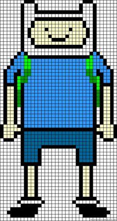 Finn Adventure Time perler bead pattern