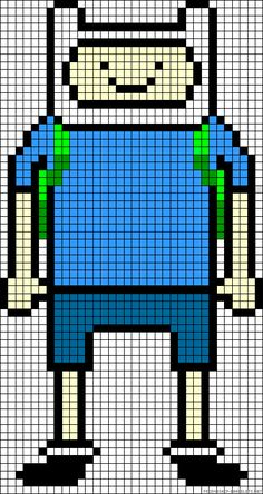 Finn Adventure Time perler bead pattern