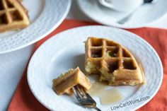 Scrumptious low carb paleo coconut flour waffles are easy to make. Just mix up the ingredients in a blender then pour in a Belgian waffle maker. Low Carb Flour, Low Carb Keto, Low Carb Recipes, Ketogenic Recipes, Low Fodmap, Baking Recipes, Free Recipes, Healthy Recipes, Yummy Waffles