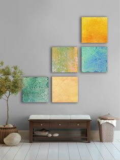 My artwork: Large tropical modern abstract art painting, - 5 square CUSTOM Wall Art- bright, Peacock green, Terquoise ,Gold, yellow, Green, Parrot green-    ETSY ARTwork: https://www.etsy.com/listing/95981370/tropical-modern-abstract-art-painting-5?listing_id=95981370_slug=tropical-modern-abstract-art-painting-5