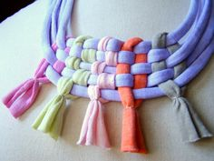 Necklace COSMOS tshirt yarn recycled yarn in by southstreet - try with beading wire & beads?