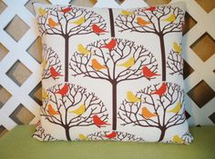 Bird Tree Pillow Cover in Orange Gold and by JRsPillowsandBags, $20.00