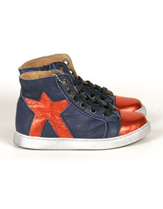 Blue high sneakers with red shiny star - Maa