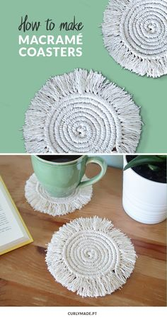 How to Make Round Macramé Coasters | Curly Made #macame #coaster #cord #diy