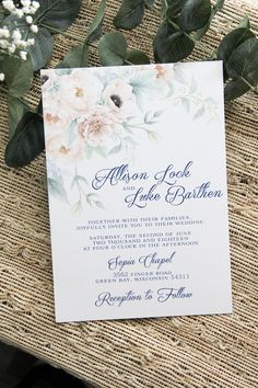 Blush Peonies and Navy Wedding Invitation #weddinginvitation