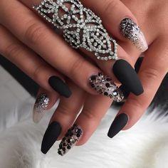 matt black and glitter ballerina nails bmodish