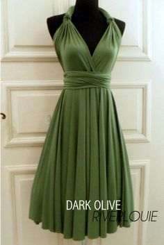 DARK OLIVE GREEN Convertible Multiway Bridesmaids Wedding Maternity Prom Dress via Etsy
