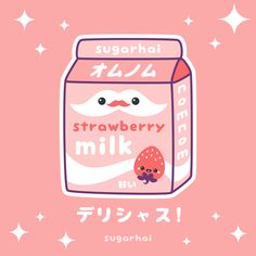 Super kawaii Japanese strawberry milk animated gif from sugarhai. Click to see cute stuff made with this image.