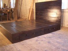 Custom Made Reclaimed Wood Platform Bed