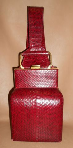 Vintage Red Snakeskin Leather Purse with Wrist Strap Handle