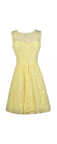 ...Something like this with a white belt or bow & shawl.  [Lily Boutique Carly Floral Lace A-Line Dress in Yellow]