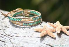 Sea Grass Green Double Leather Wrap by JonaraBluMauiJewelry, $35.00
