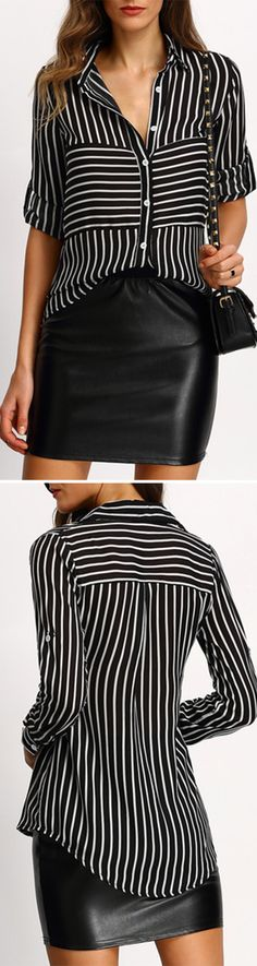 Work Style - Black Striped Buttons Blouse with black leather skirt and heels