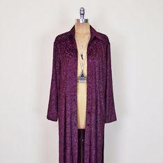 Vintage 90s Burgundy Sheer Burnout Velvet Jacket Velvet Burnout Jacket Duster Jacket Velvet Dress Burnout Dress Maxi Dress Grunge Gypsy S M