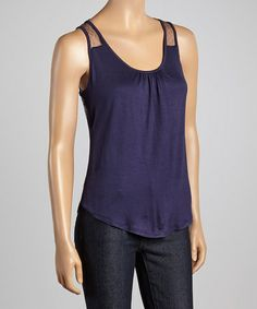 Loving this Navy Blue Ruched Crisscross Tank on #zulily! #zulilyfinds